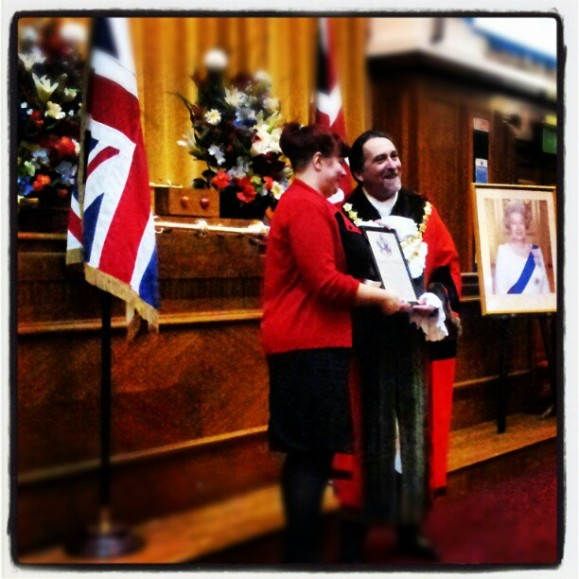 Collecting my certificate from the mayor
