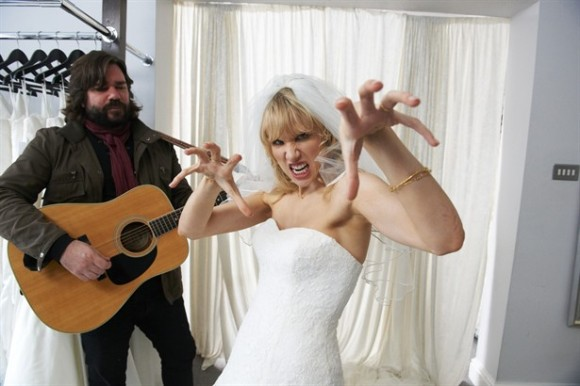 The bride had decided to come down the aisle to Eye of the Tiger