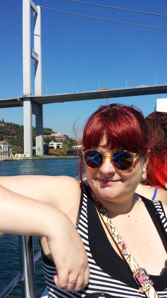 Cruising down the river with the Bosphorus Bridge behind me