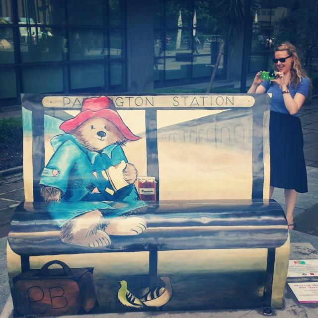 Em and I spent July photographing literary benches around London. This is the Paddington Bear one.