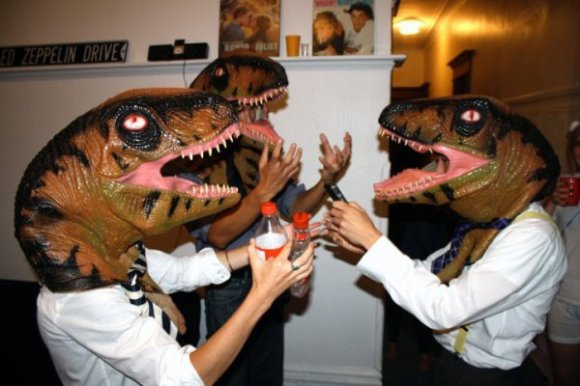 ...And then the party raptors showed up.